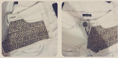 Customização de short com tecido de oncinha
