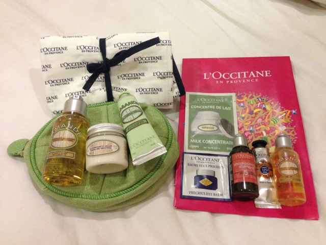 Almond Set On The Left And Also Got A Free Bag Items Right Are Door Gift For Members Small Samples Of Shower Oil