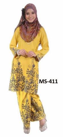 Baju Kurung Pahang Warna Mustard Koleksi Baju Kurung Raya 2014