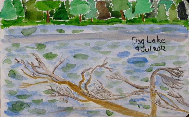 watercolor of tree partly submerged in Dog Lake