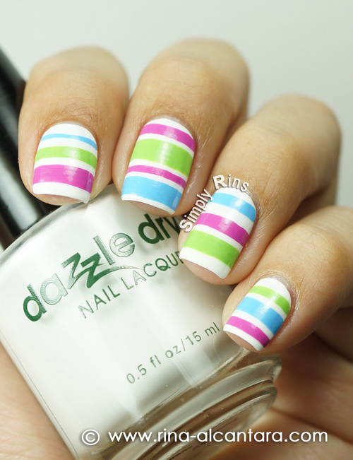 Colored Stripes Nail Art Design on Dazzle Dry White Lightning