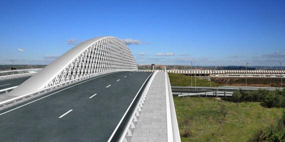 Un puente-arco sobre la M-12 que conecta la Terminal 4 del Aeropuerto de Barajas con Valdebebas