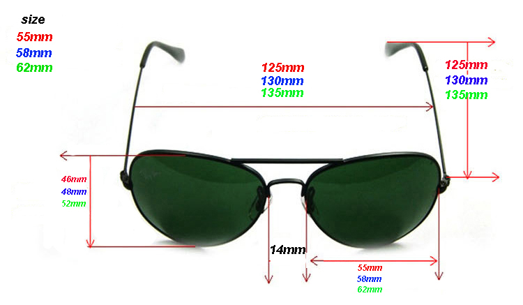 ray ban aviator measurements  ray ban aviator sunglasses dimensions