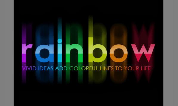 Hasil tutorial teks warna-warni dengan photoshop