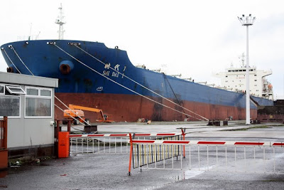 Ship undergoing repairs in Belfast in Northern Ireland