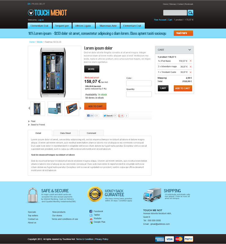 Product Detail -Mobile Prestashop Template