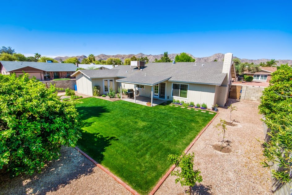 aerial view of backyard showing mountains in Ahwatukee 85044