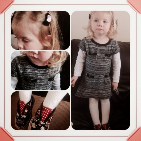 Maegan Darcie Clement Chanel Chic Baby Gap knitted dress, Hello Kitty Vans, hello kitty hair clips