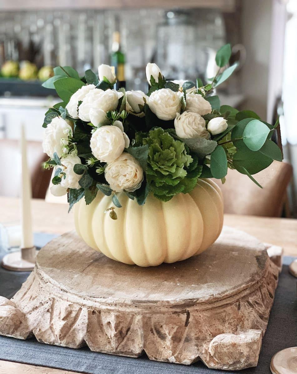 Fall DIY Decor Pumpkin Floral Arrangement