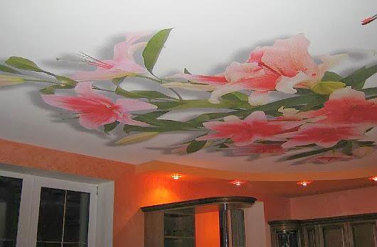 Неброские виньетки цветов на потолке рисунок