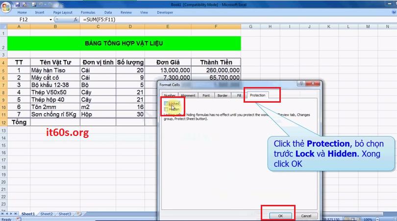 Hướng dẫn cách ẩn công thức trong Microsoft Excel 2