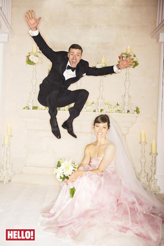 Vestido cor de rosa - casamento Jessica Biel e Justin Timberlake
