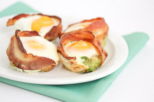 photo of a plate of Bacon Avocado Egg Cups