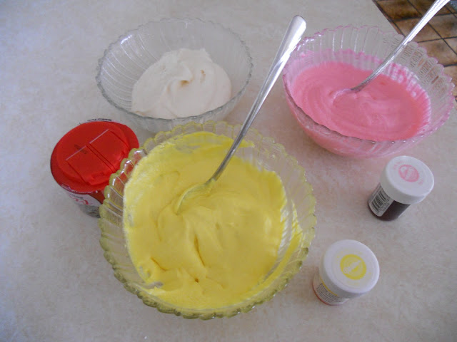 Buttercream frosting is easily tinted with food coloring.