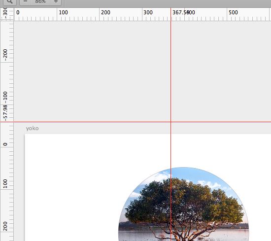 この赤い線がガイド。ルーラー上でした移動できない…。ガイド作成はルーラー上でダブルクリックです。