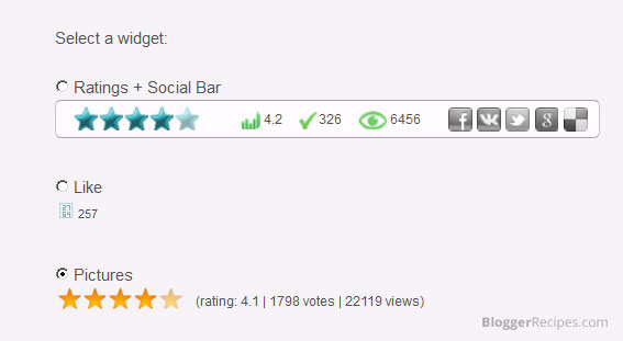 Select a rating widget style