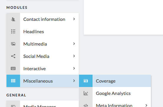 sidebar miscellaneous coverage module highlighted