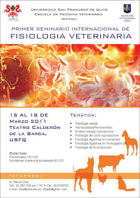 Primer Seminario Internacional de Fisiología Veterinaria, 16 al 18 de Marzo