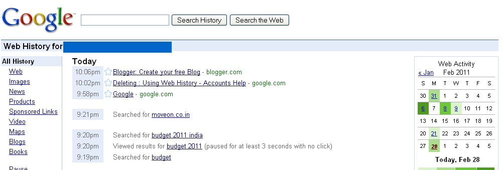 how to delete my activity in web history