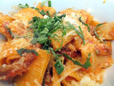 Grassa's pasta dish of Italian Sausage pasta with peppers, onions, basil, grana, escarole in Portland