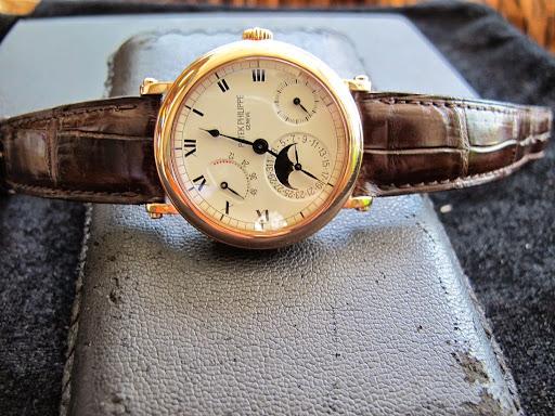 Bán đồng hồ Patek philippe chính hãng – vỏ vàng Hồng 18k – 5054R Trăng sao – Dây da – Size 35,5mm