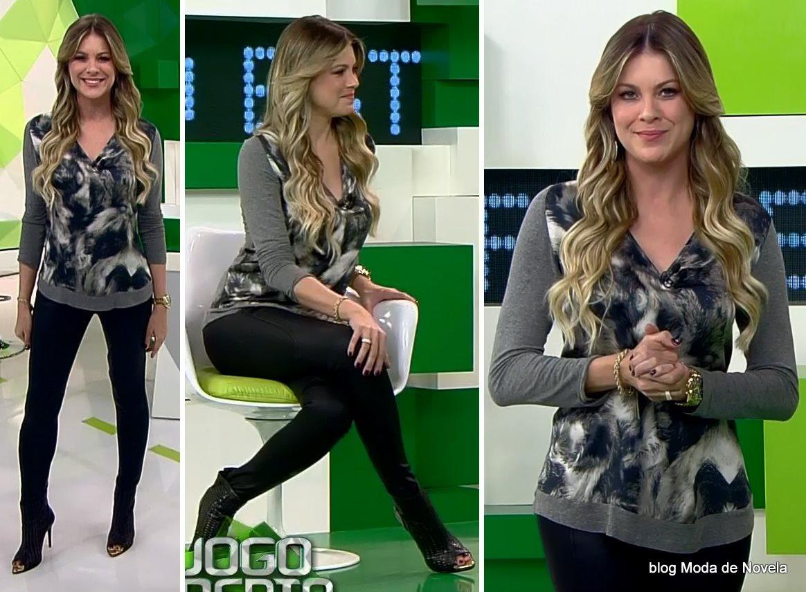 moda do programa Jogo Aberto, look da Renata Fan dia 6 de agosto
