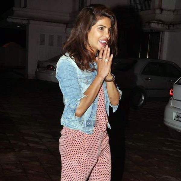 Priyanka Chopra clicked on her arrival for the wrap-party of Bollywood movie Mary Kom, held at Sanjay Leela Bhansali's residence on July 26, 2014.(Pic: Viral Bhayani)