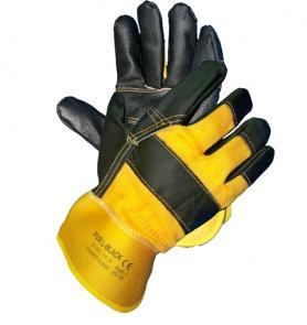 Rękawice wykonane z licowanej skóry bydlęcej i drelichu PVR L-BLACK