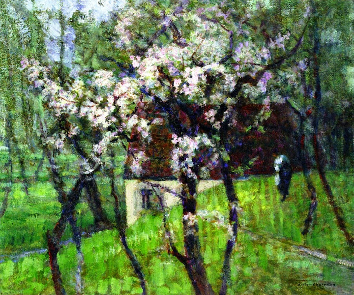 Victor Charreton - Flowering Apple Trees in a Damp Meadow