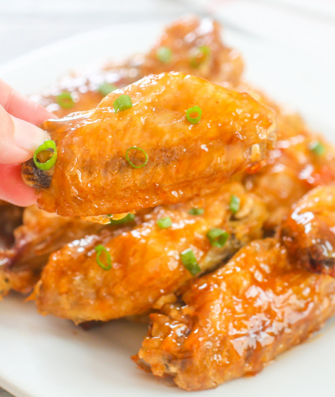 close-up photo of Crispy Baked Orange Chicken Wing