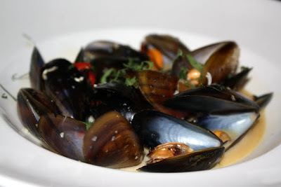 Mussels for a starter at CAU restaurant in Guildford England