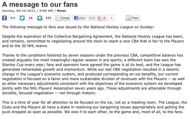 NHL Lockout Letter to fans
