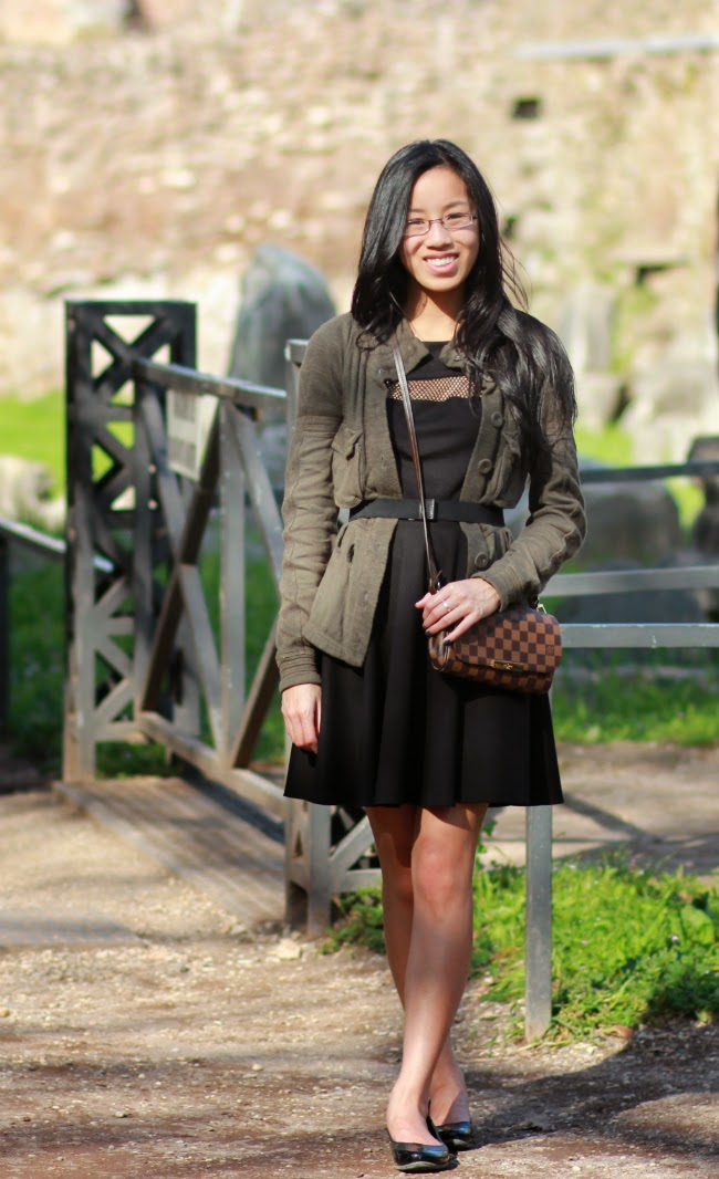 layered sweater and dress look outfit idea spring