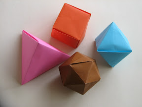 "Four Platonic Solids from John Montroll's book ""A Plethora of Polyhedra in Origami"""