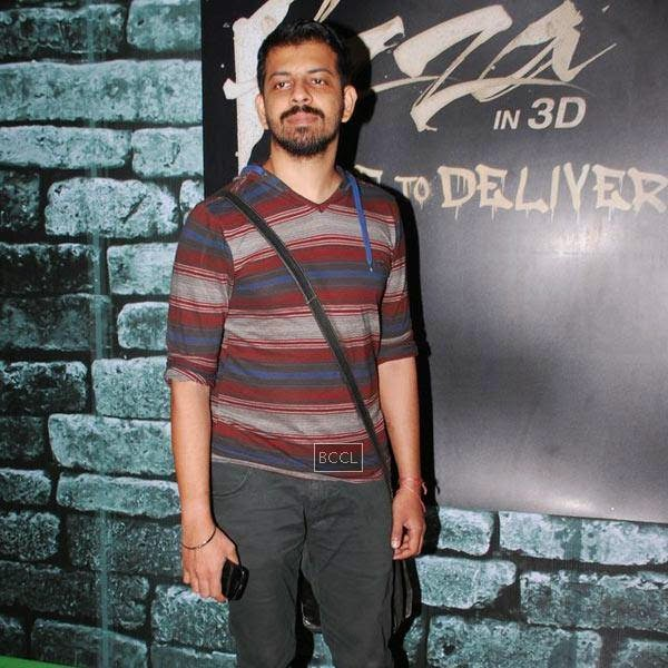 Bejoy Nambiar poses as he arrives to promote the Bollywood movie Pizza 3D in Malad, on July 11, 2014.(Pic: Viral Bhayani)