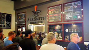 AleSmith Brewing Company, example of their menu of beers to choose from for tasting