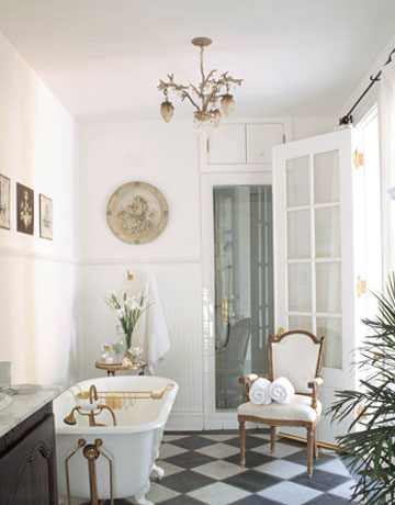 Paneling The Tub Enhances That Furntiure Feel. French Doors And A Fantastic  Light Fixture Infuse The Room With Style And Grace.