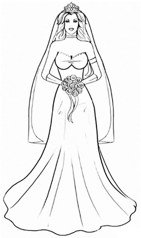Dibujo Vestido de novia en boda para colorear, pintar e imprimir