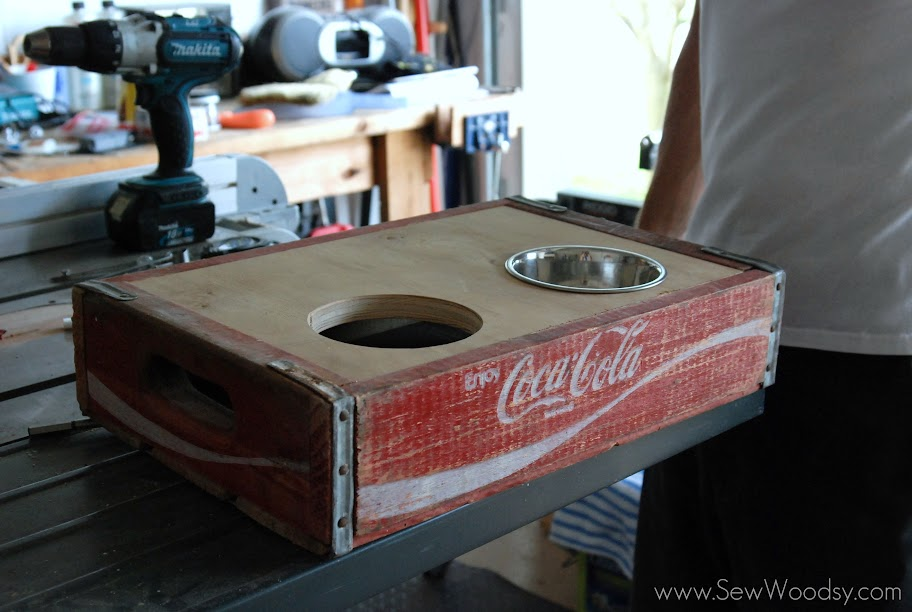 Vintage Coca Cola Crate Turned Dog Bowl Holder