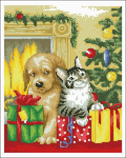 Dog and cat Gazing Through The Windowcross stitch pattern