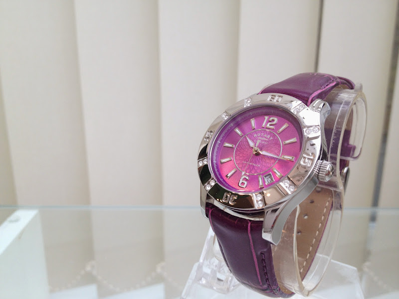 Rotary ladies swiss watch crystal dial purple leather strap waterproof rrp 179 for Violet leather strap watch