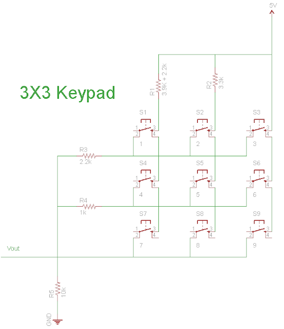 3x3 keypad circuit schematic