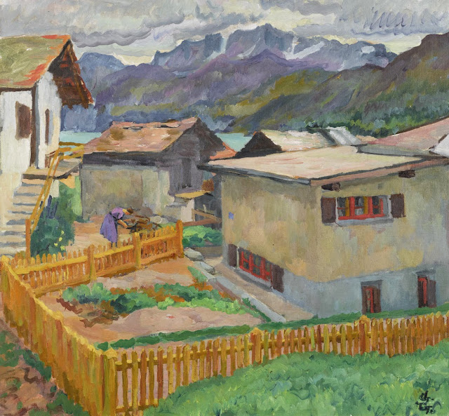 Giovanni Giacometti - Capolago with a view of the Corvatsch. Circa 1926