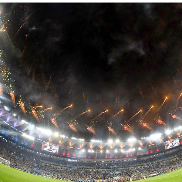 Fireworkd lit up the sky after the final football match between Germany and Argentina for the FIFA World Cup at The Maracana Stadium in Rio de Janeiro on July 13, 2014.