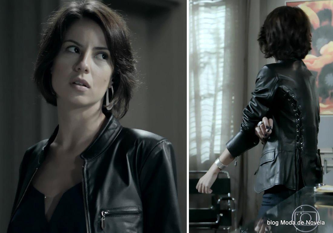 moda da novela Império - look da Maria Clara com jaqueta de couro dia 3 de setembro
