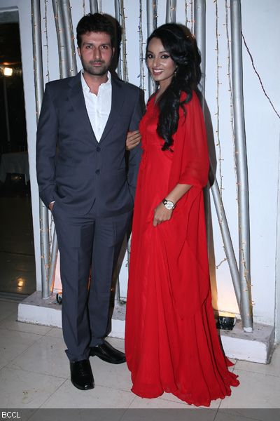 Resshmi Ghosh and Siddharth Vasudev pose during their engagement ceremony.