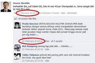 Twitter atau Facebook Anwar pada 21 Februari