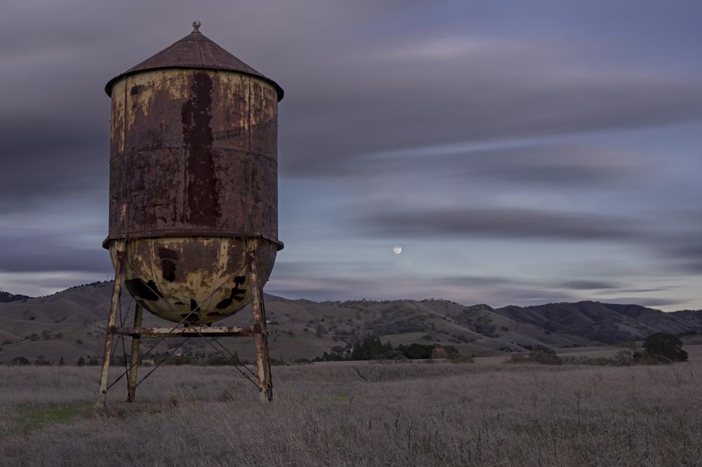 winter moonrise over Clayton, California
