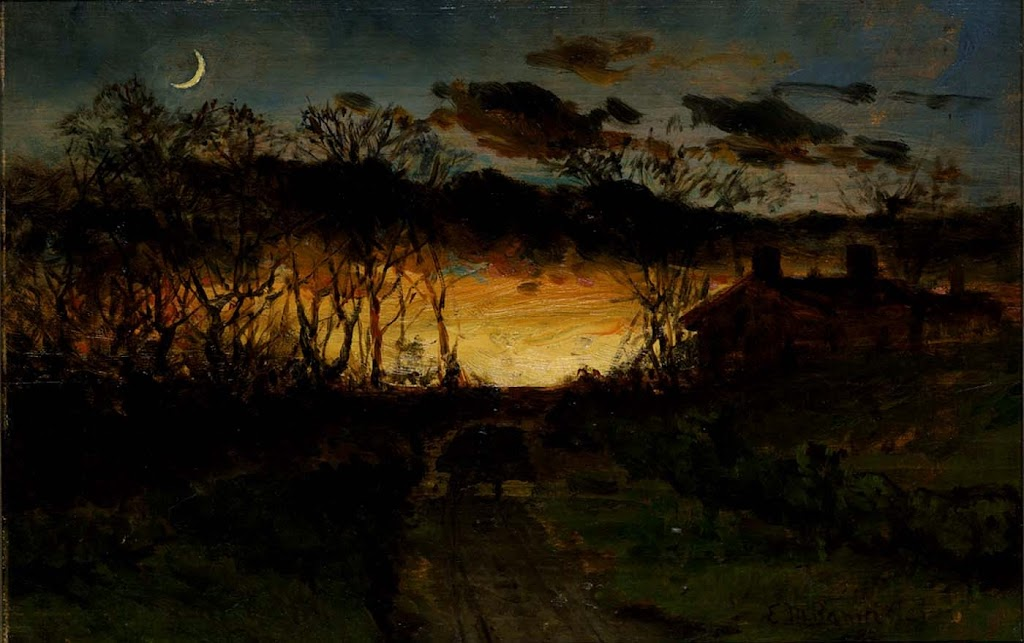 Edward Mitchell Bannister - Untitled (sunset with quarter moon and farmhouse)