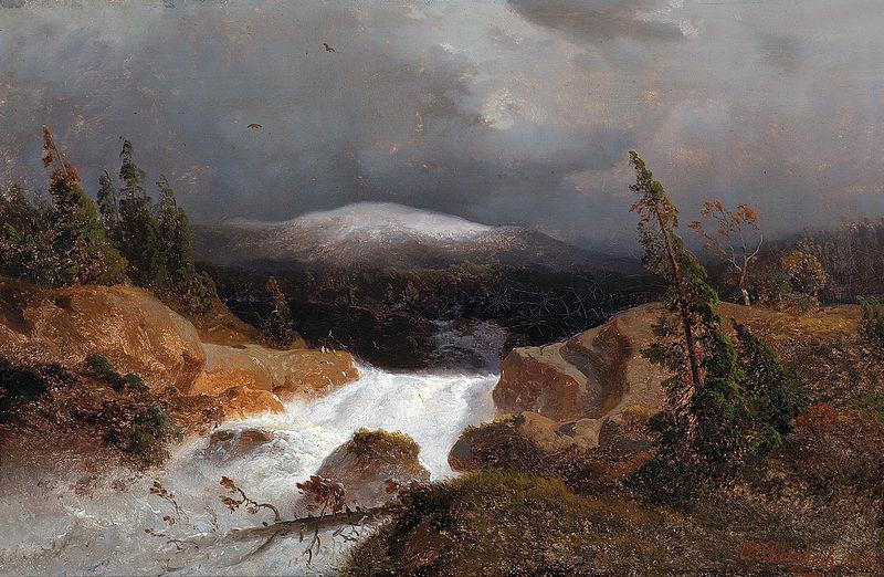 Andreas Achenbach - Norwegische Berglandschaft mit einem Gebirgsbach